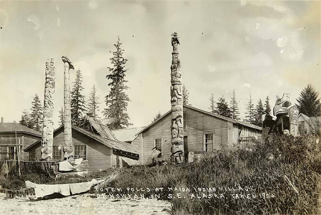 023 haida totem poles in front of houses howkan village long island alaska 1906