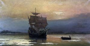 1920px mayflower in plymouth harbor by william halsall