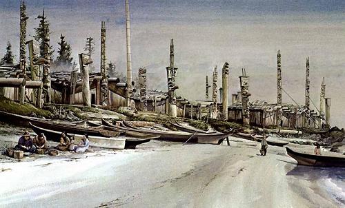 44 peinture representant le village de cumsheva 1875