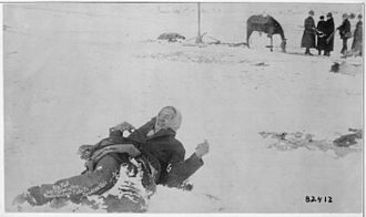 Big foot leader of the sioux captured at the battle of wounded knee s d here he lies frozen on the snow covered nara 530805