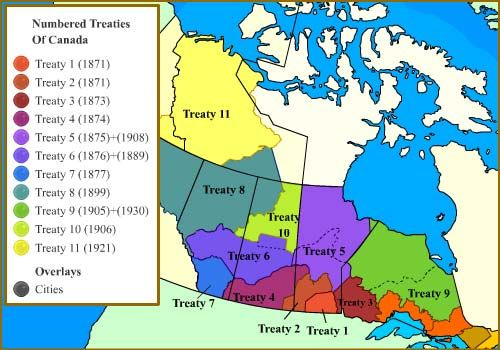 Canada treaties map