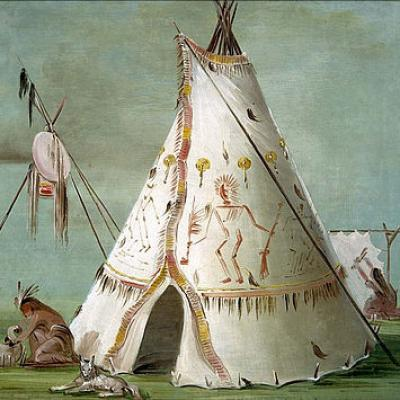 Crow tipi or lodge george catlin