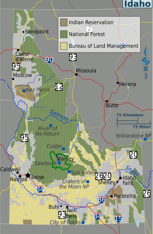 Idaho regions map sawtooth