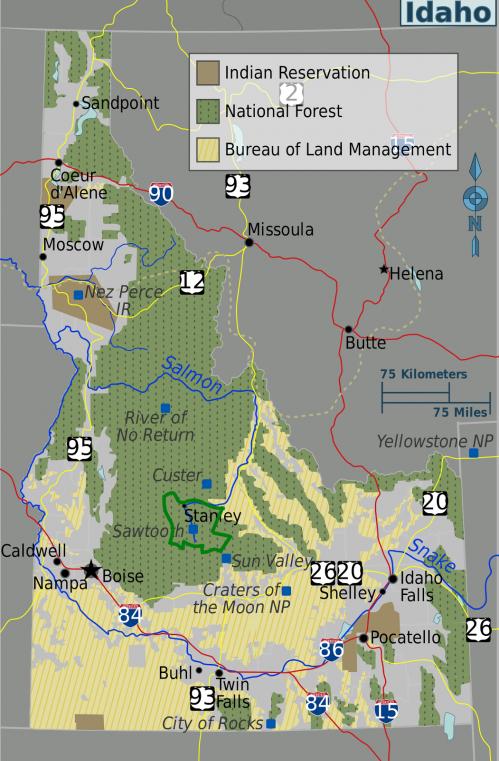 Idaho regions map sawtooth