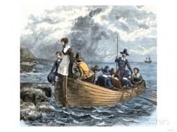 John alden and mary chilton landing at plymouth from the mayflower december 1620