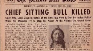 Journal annonce la mort de sitting bull