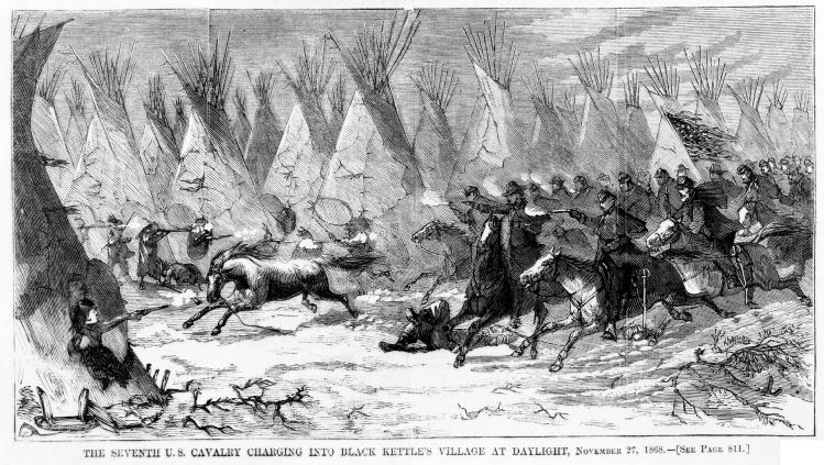 Seventh cavalry charging black kettle s village 1868